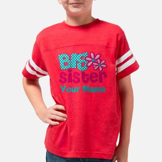 Big Sister Teal Pink Personal Youth Football Shirt