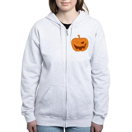 funny winking jack-o-lantern pu Women's Zip Hoodie