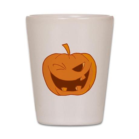 funny winking jack-o-lantern pumpkin Shot Glass