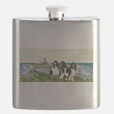 Three Newfs Seascape Flask