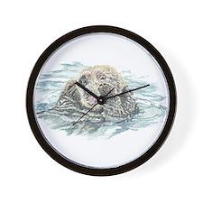 Cute Watercolor Otter Animal Wall Clock