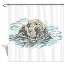 Cute Watercolor Otter Animal Shower Curtain
