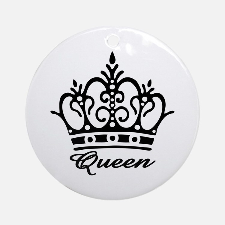 Queen Black Crown Ornament (Round)