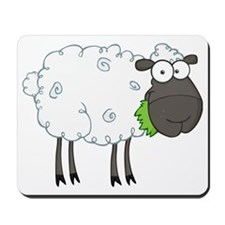 cute white sheep with black face Mousepad