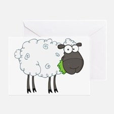 cute white sheep with black face Greeting Card