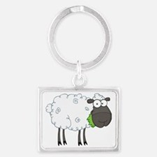 cute white sheep with black fac Landscape Keychain
