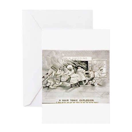 A hair tonic explosion - 1884 Greeting Card