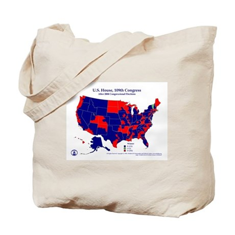 109th Congress District Map Tote Bag-Blue