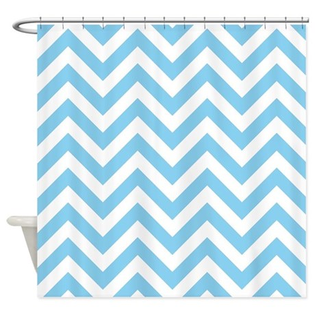baby blue and white chevrons shower curtain by laughoutlouddesigns1