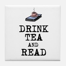 Drink Tea and Read Tile Coaster