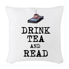 Drink Tea and Read Woven Throw Pillow