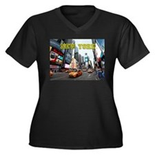 New York Tim Women's Plus Size V-Neck Dark T-Shirt