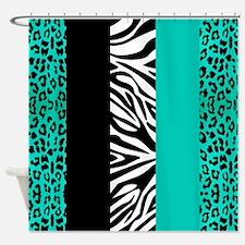 Turquoise Animal Print Stripes Zebra Leopard Showe