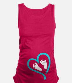 Baby Feet Heart Blue Maternity Tank Top