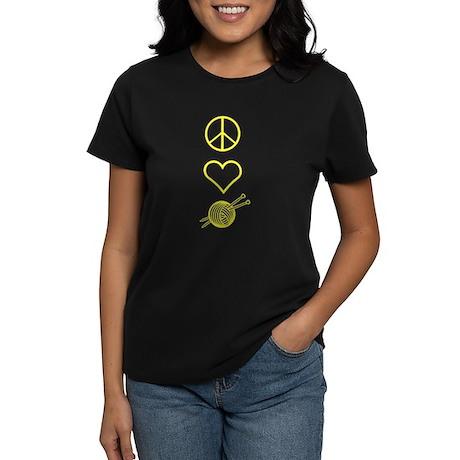 Peace Love Knit Women's Dark T-Shirt