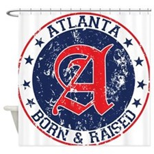 Atlanta born raised blue Shower Curtain