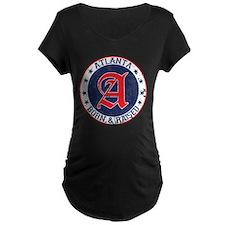Atlanta born raised blue Maternity T-Shirt