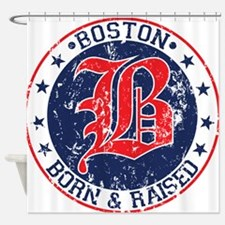Boston born and raised red Shower Curtain
