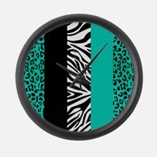 Teal Blue Animal Print Stripes Zebra Leopard Large
