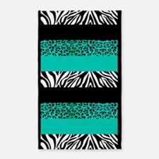 Teal Blue Animal Print Stripes Zebra Leopard 3'x5'