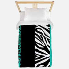 Teal Blue Animal Print Stripes Zebra Leopard Twin