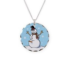 Naughty Snowman Necklace Circle Charm