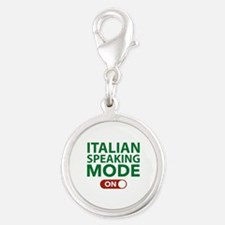 Italian Speaking Mode On Silver Round Charm