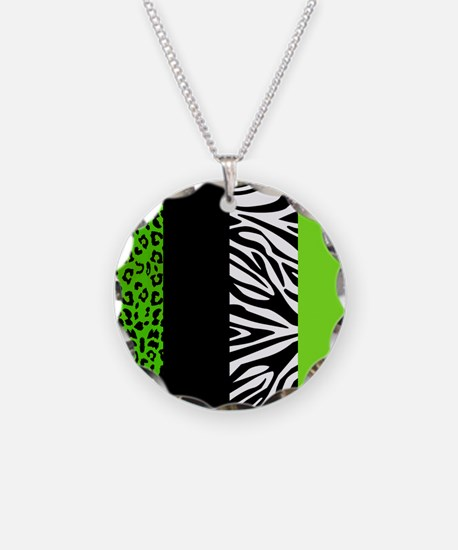 Lime Green Animal Print Stripes Zebra Leopard Neck