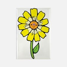 cute yellow daisy with smiley fac Rectangle Magnet