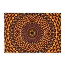 Golden Rainbow Mandala Pattern 5'x7'Area Rug