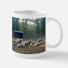 Horned Dorset Sheep Barn Scene early AM Mug