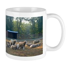 Horned Dorset Sheep Barn Scene early AM Mug