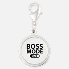 Boss Mode On Silver Round Charm