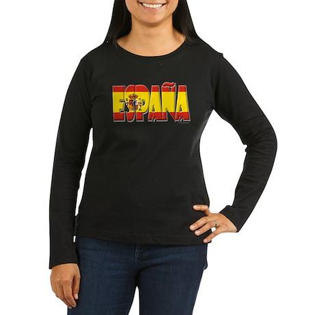 Word Art Flag Espana Women's Long Sleeve Dark T-Sh