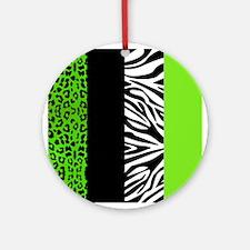 Lime Green Animal Print Stripes Zebra Leopard Orna