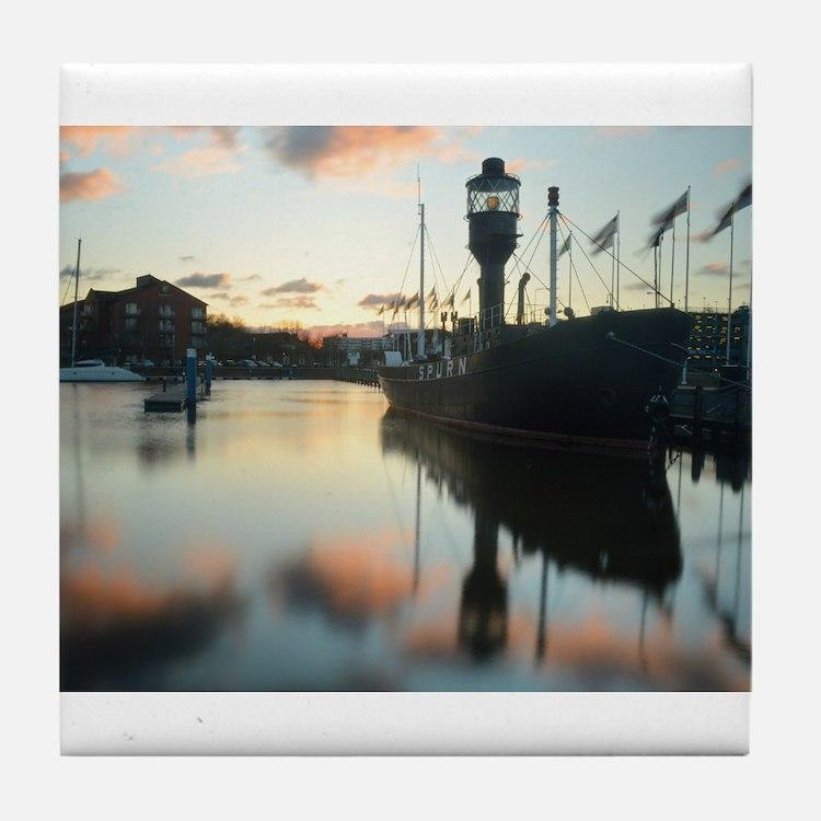 Hull Marina at Sunset Tile Coaster