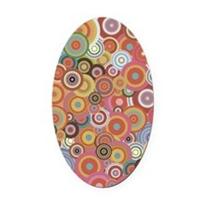 Multicolored rings Oval Car Magnet