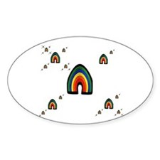 MULIPLE RAINBOWS ON WHITE Oval Decal