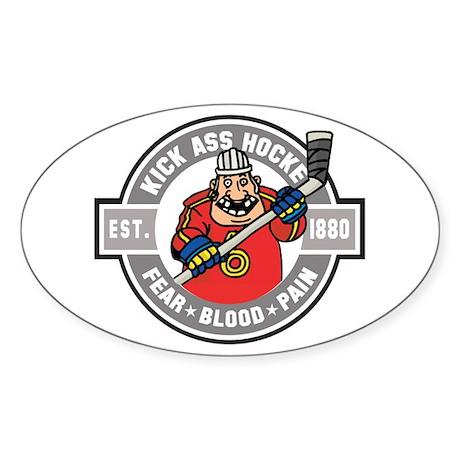 Kick Ass Hockey Oval Sticker