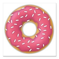 "pink frosted sprinkles d Square Car Magnet 3"" x 3"""