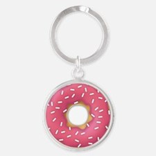 pink frosted sprinkles donut doughn Round Keychain