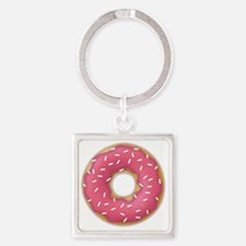 pink frosted sprinkles donut dough Square Keychain