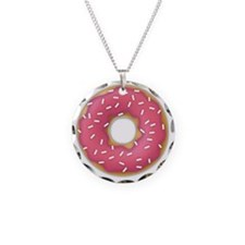 pink frosted sprinkles donut Necklace