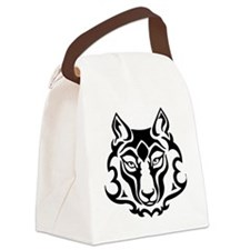 tribal wolf face black and white  Canvas Lunch Bag