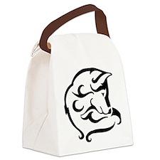 shy wolf tribal design Canvas Lunch Bag