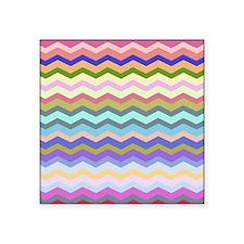 """Colorful chevron zig zag pa Square Sticker 3"""" x 3"""""""