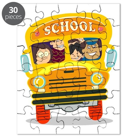 happy kids school bus back to school Puzzle