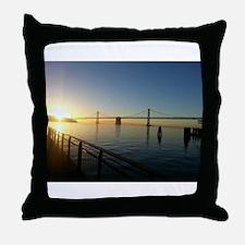 Bay Bridge at Sunset Throw Pillow