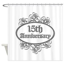 15th Wedding Aniversary (Engraved) Shower Curtain