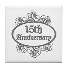 15th Wedding Aniversary (Engraved) Tile Coaster